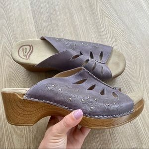 Dansko Sheri Purple Floral Cut Out Sandals/ Clogs